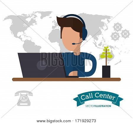 male call center working desk world helpline vector illustration eps 10