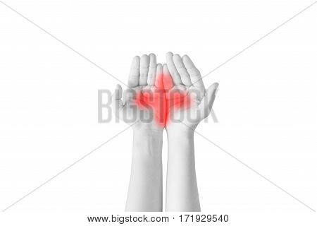 Woman Protecting Care Hand Isolated On White Background. Clipping Path On White Background.