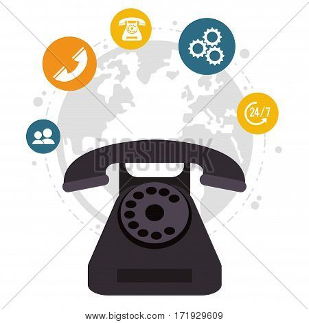 telephone call center all day global service vector illustration eps 10