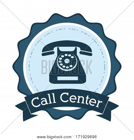 call center telephone line support badge vector illustration eps 10