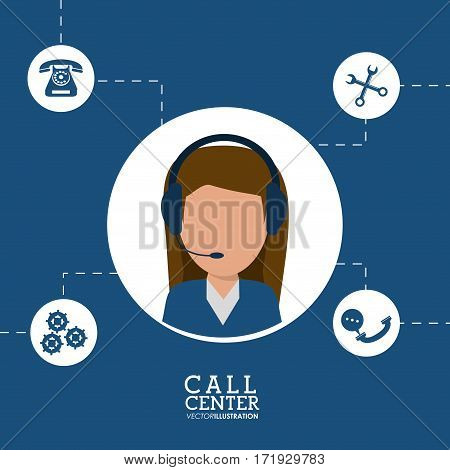 call center female agent line support vector illustration eps 10
