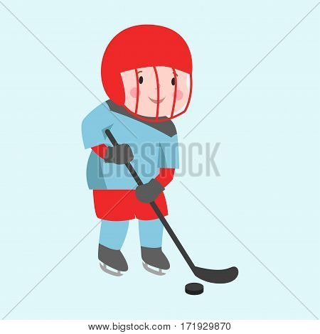 Hockey player boy with stick attitude bandage on face winter sport athlete uniform in helmet equipment and cute pretty tough confident smiling male vector. Child recreation person in mask.