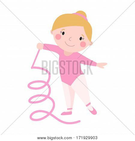 Girl young sport cute gymnast with ribbon flexibility gymnastic strength teenager doing dance and rhythmic performance female character vector illustration. Childhood performance acrobat kid.