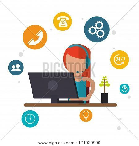 character female call center workspace vector illustration eps 10