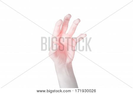 Acute Pain In A Woman Hand Isolated On White Background. Clipping Path On White Background.