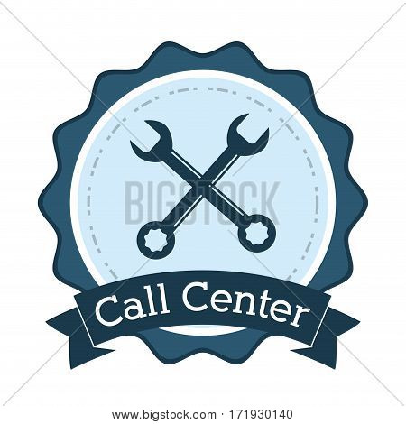 call center support technical badge vector illustration eps 10