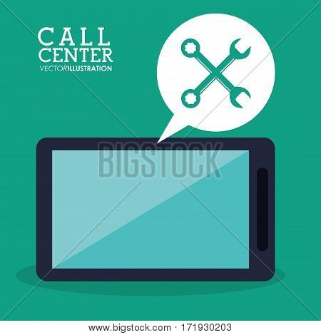 call center smartphone technical app vector illustration eps 10