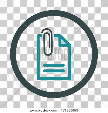 Attach Document vector icon. Illustration style is a flat iconic bicolor soft blue symbol on a transparent background.