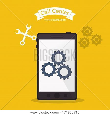 smartphone call center online tools vector illustration eps 10