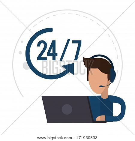 character male call center support 24-7 vector illustration eps 10