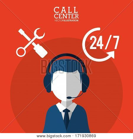 call center male service support 24-7 vector illustration eps 10