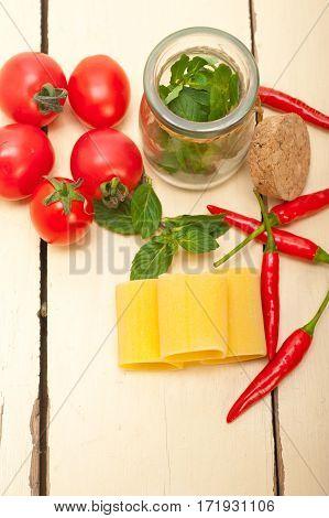 Italian Pasta Paccheri With Tomato Mint And Chili Pepper