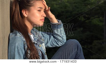 Angry Stressed And Distraught Female With Long Brunette Hair