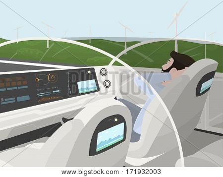 Self-driving electric car goes with relaxing passenger. Autonomous intelligent car with glass roof. Happy man sitting in comfortable car. Inside view. Flat style illustration.