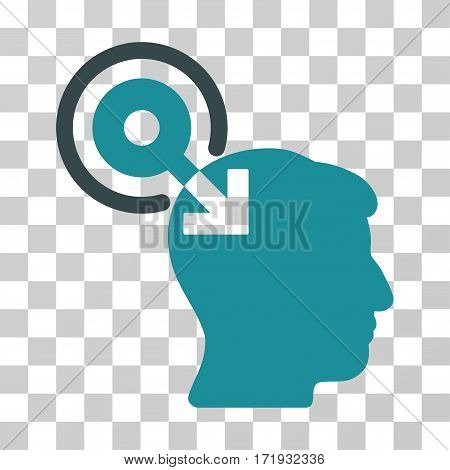 Brain Interface Plug-In vector pictograph. Illustration style is a flat iconic bicolor soft blue symbol on a transparent background.