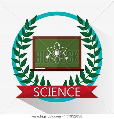 chalkboard science biology atom emblem vector illustration eps 10
