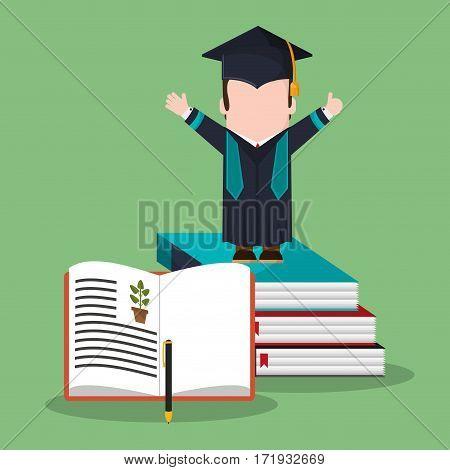 graduate student stack book biology vector illustration eps 10