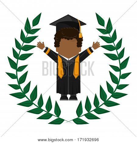 graduate student gown hat funny emblem vector illustration eps 10