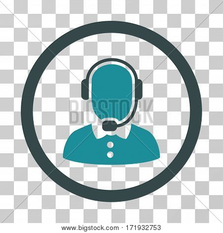 Call Center Operator vector icon. Illustration style is a flat iconic bicolor soft blue symbol on a transparent background.