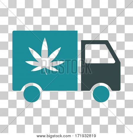 Cannabis Delivery Van vector icon. Illustration style is a flat iconic bicolor soft blue symbol on a transparent background.