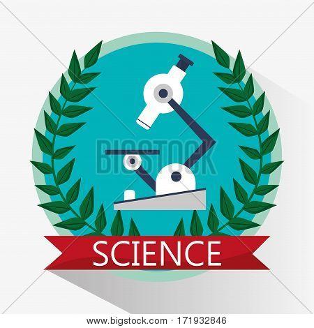 science microscope biology equipment emblem vector illustration eps 10