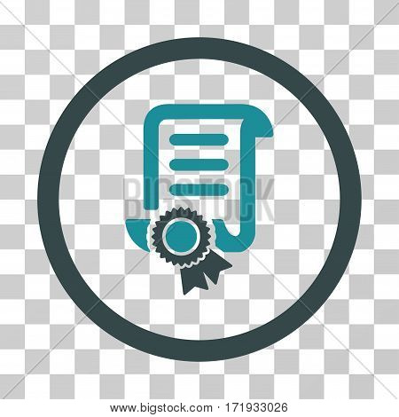 Certified Scroll Document vector pictogram. Illustration style is a flat iconic bicolor soft blue symbol on a transparent background.