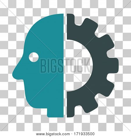 Cyborg Head vector pictograph. Illustration style is a flat iconic bicolor soft blue symbol on a transparent background.