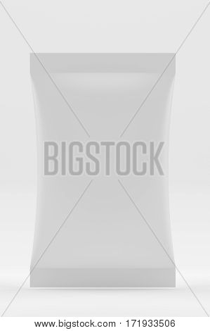 White Blank Foil Food Doy Pack Stand Up Pouch Bag Packaging. Mockup Template Ready For Your Design. 3d rendering.
