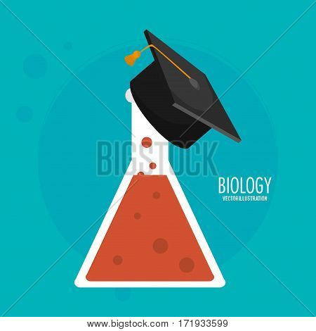 biology test tube graduation cap icon vector illustration eps 10