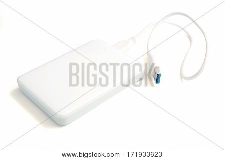 The external Harddisk with USB cable isolated on white background