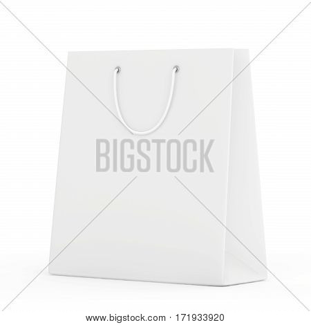 close up of a white paper bag on white background with clipping path. 3d rendering.