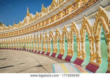 Gallery of a cave pagoda U Min Thonze Temple. Sagayn (neighborhood of the city of Mandalay). Myanmar