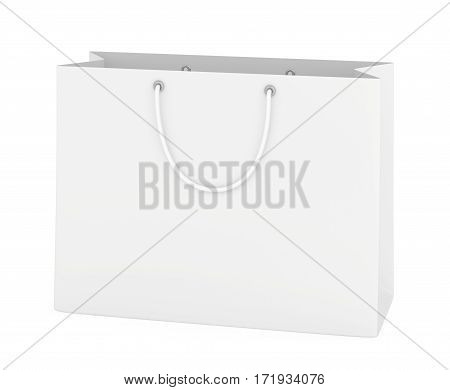 close up of paper bag on white background with clipping path. 3d rendering.