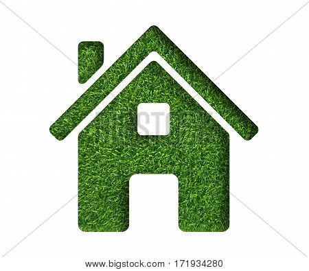Isolated on white background house made of fresh green grass.