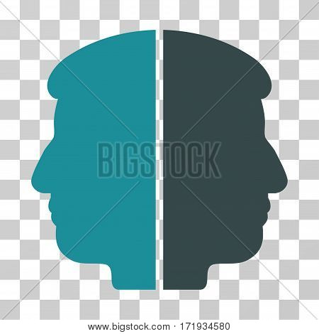 Dual Face vector icon. Illustration style is a flat iconic bicolor soft blue symbol on a transparent background.