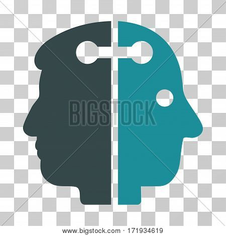 Dual Head Connection vector pictogram. Illustration style is a flat iconic bicolor soft blue symbol on a transparent background.