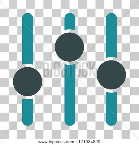 Equalizer vector pictogram. Illustration style is a flat iconic bicolor soft blue symbol on a transparent background.