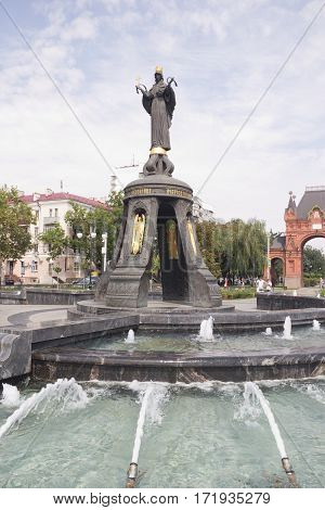 KRASNODAR, RUSSIA-AUGUST 17, 2016:Monument of holy GreatMartyress Catherine. Holy GreatMartyress Catherine is patron of the Krasnodar city.