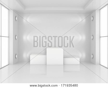 empty white room with a pedestal for presentation. 3d rendering.