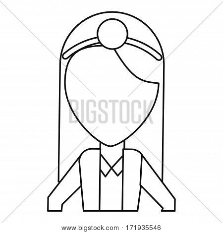 doctor female with head mirror and coat thin line vector illustration eps 10