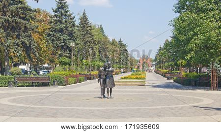 KRASNODAR, RUSSIA - AUGUST 19, 2016: Alexander Boulevard with monument Shurik and Lida in the center of Krasnodar. Heroes of soviet movie