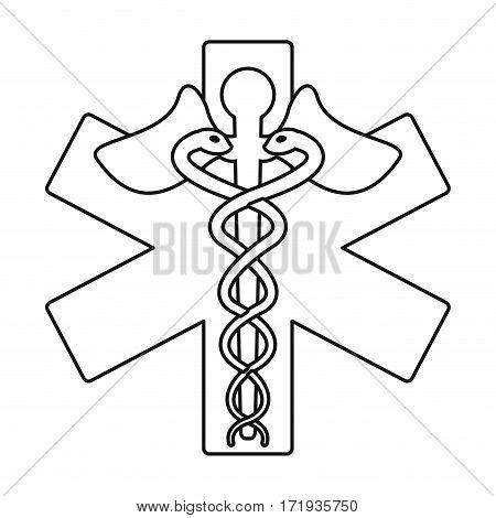 caduceus medicine care symbol thin line vector illustration eps 10