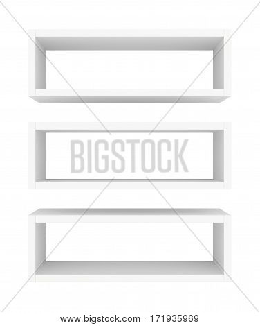 Blank showcase displays shelves front view isolated on white background. 3D rendering.