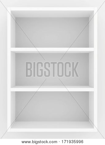 White blank showcase shelves front view. 3D rendering.