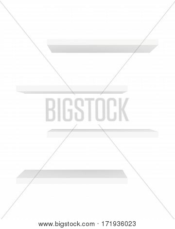 Blank showcase displays shelves front view isolated on white background. 3D rendering