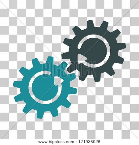 Gear Mechanism Rotation vector pictogram. Illustration style is a flat iconic bicolor soft blue symbol on a transparent background.