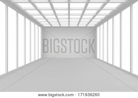 Abstract architecture white room interior with walls and ceiling from window, without any textures, 3d rendering.