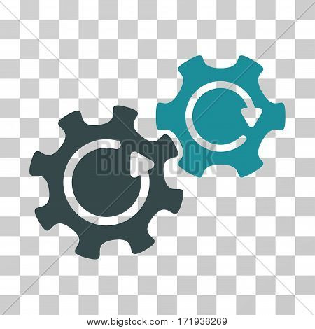 Gears Rotation vector icon. Illustration style is a flat iconic bicolor soft blue symbol on a transparent background.