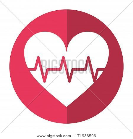 heart pulse rhythm cardio shadow vector illustration eps 10