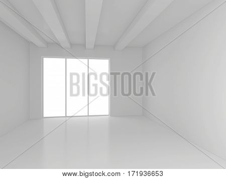 Modern bright gallery with white wall. 3d rendering